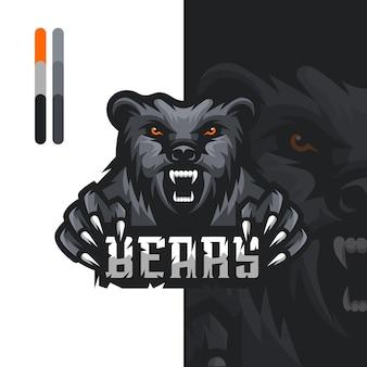 Logo de mascotte de jeu d'ours