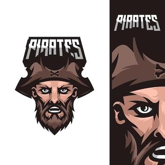Logo de mascotte de jeu de pirates