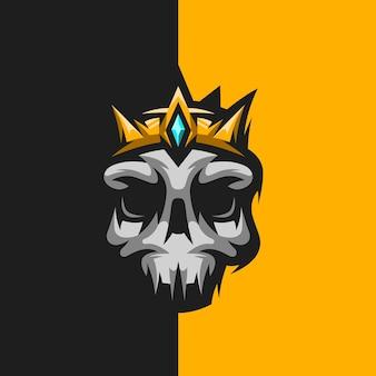 Logo de mascotte de jeu de roi de crâne