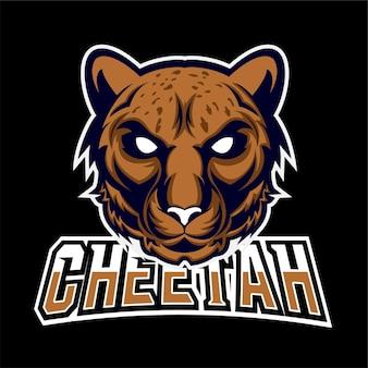 Logo de mascotte de jeu de sport et d'esport de guépard