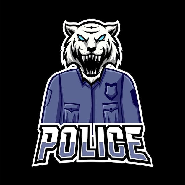 Logo de mascotte de jeu de sport et d'esport de police