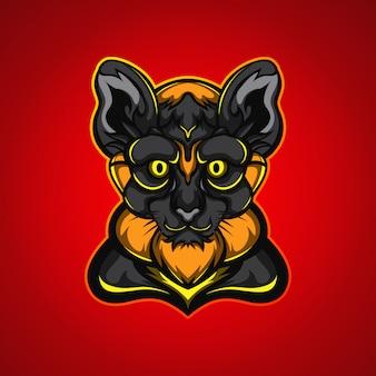 Logo de la mascotte de jeu de tête de panthère noire