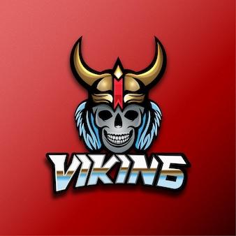 Logo de mascotte de jeu viking, effet de texte modifiable