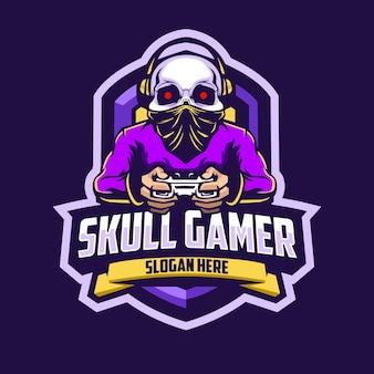 Logo de mascotte de joueur de crâne