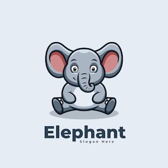 Logo de mascotte kawaii de dessin animé mignon éléphant assis