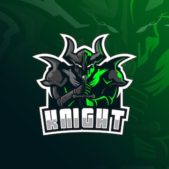 Logo de la mascotte knight avec illustration moderne