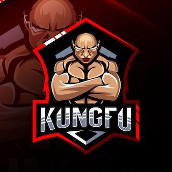 Logo de la mascotte kungfu esport design