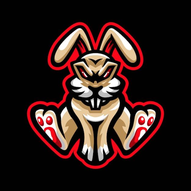 Logo de mascotte de lapin en colère