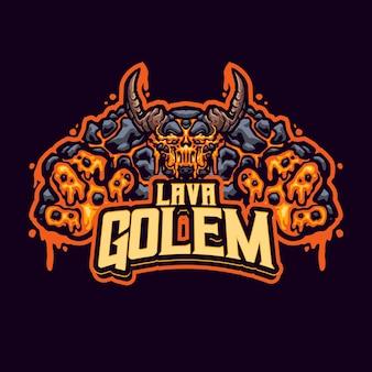 Logo de la mascotte lava golem pour l'équipe d'esport et de sport