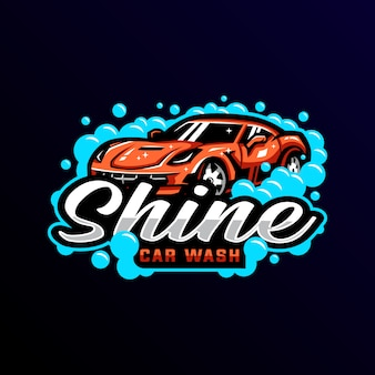 Logo de mascotte de lavage de voiture esport gaming