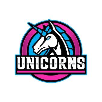 Logo de mascotte de licorne