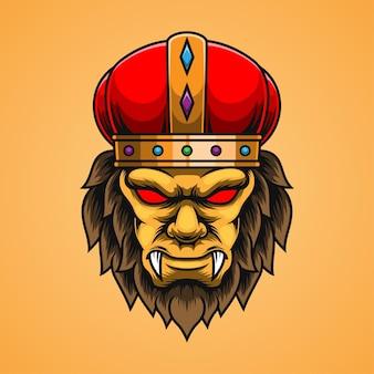 Logo de mascotte de lion avec couronne