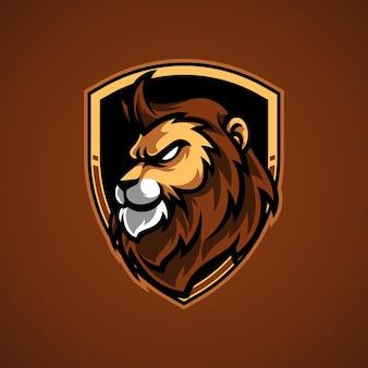 Logo de mascotte lion e sport