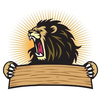 Logo mascotte de lion rugissant de sport