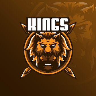 Logo de mascotte de lion avec un style d'illustration moderne pour l'impression d'insignes, d'emblèmes et de t-shirts.