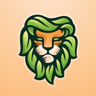 Logo de mascotte de lion vert