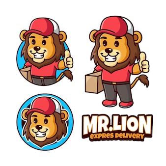 Logo de mascotte de livraison de lion