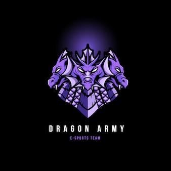 Logo mascotte logo jeux de tête de dragon