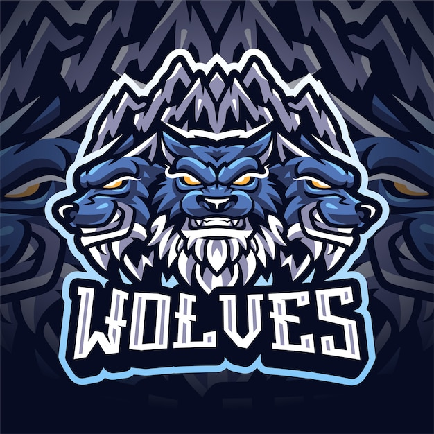 Logo de mascotte de loup esport