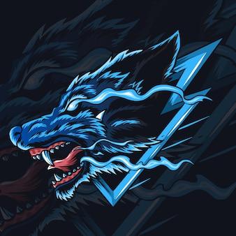Logo ou mascotte de loup esport.