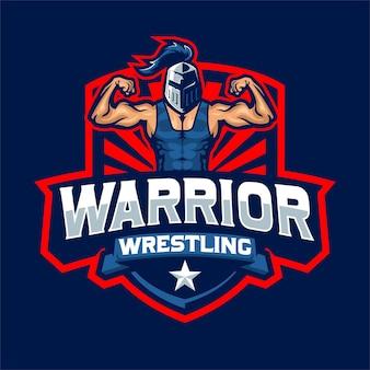 Logo de mascotte de lutte de guerrier