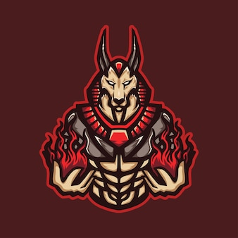 Logo de mascotte de magicien de feu