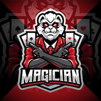 Logo mascotte magicien panda esport