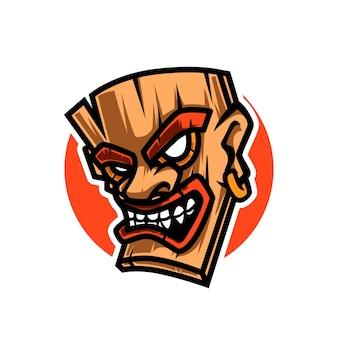 Logo de mascotte de masque en bois