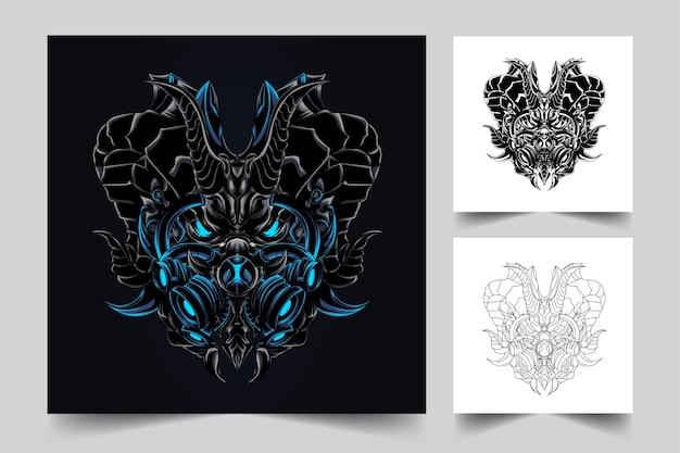 Logo de mascotte de masque de dragon