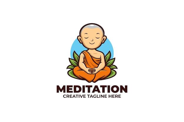 Logo de mascotte de méditation de moine mignon