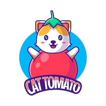 Logo mascotte mignon dessin animé chat tomate illustration vectorielle
