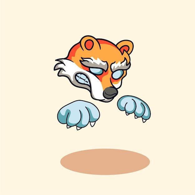 Logo de mascotte mignon de personnage d'illustration de jeu de loup