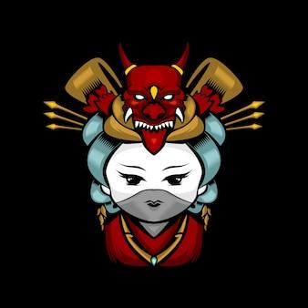 Logo mascotte mignonne geisha