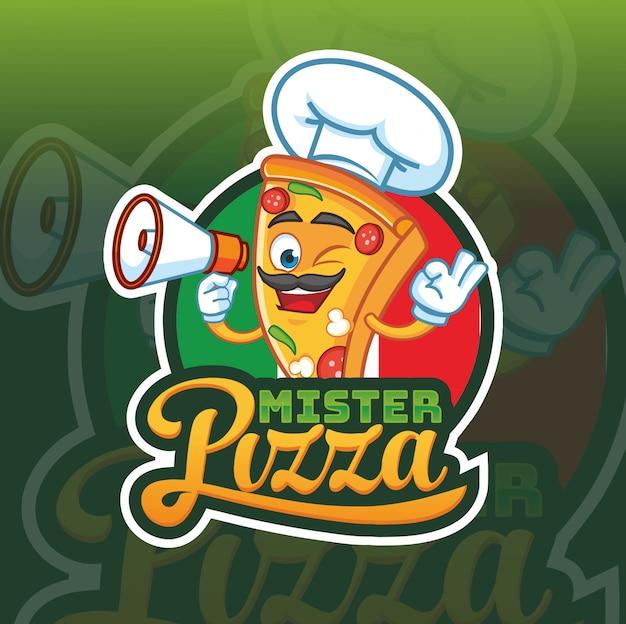 Logo mascotte monsieur pizza