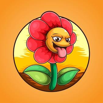 Logo de mascotte de monstre fleur