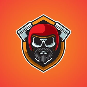 Logo de mascotte de motard tête de mort