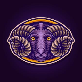Logo de mascotte de mouton foncé