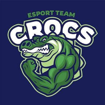 Logo de mascotte de muscle crocodile