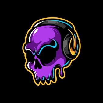 Logo de mascotte de musique de crâne mignon