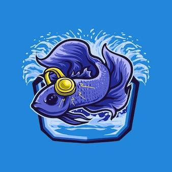 Logo de mascotte de musique de poisson betta