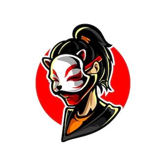 Logo de mascotte neko mask girl