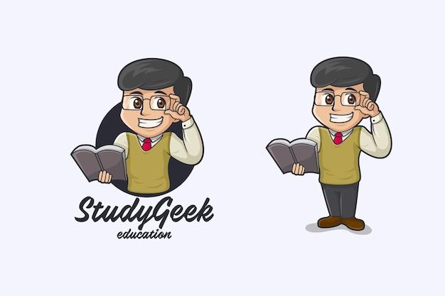 Logo de mascotte de nerd