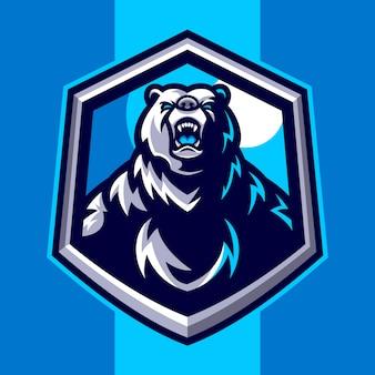 Logo mascotte ours en colère