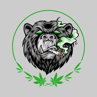 Logo de mascotte d'ours effrayant de fumée de marijuana