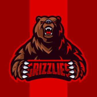 Logo de la mascotte de l'ours grizzli