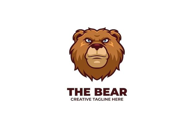 Logo de mascotte ours sauvage en colère