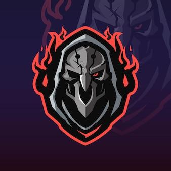 Logo de mascotte d'overwatch de faucheuse de tête
