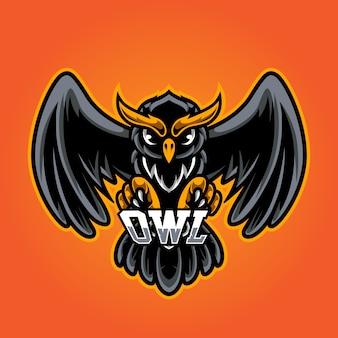 Logo de mascotte owl e sport