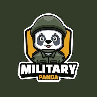 Logo de mascotte de panda mignon militaire