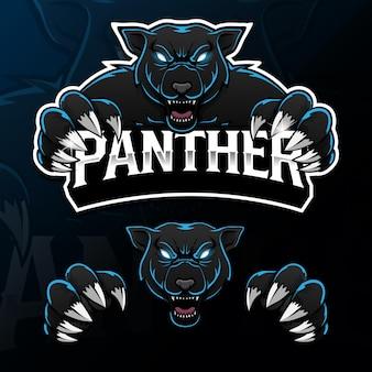 Logo de mascotte de panthère d'animaux sauvages en colère